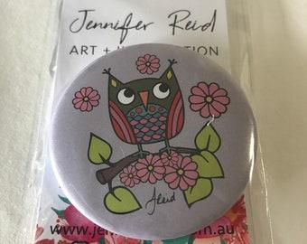 Grow Wise Little Owl 58mm Badge