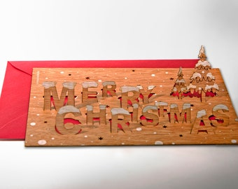 """3 pop up cards wood with envelope - """"Merry Christmas"""" cards"""