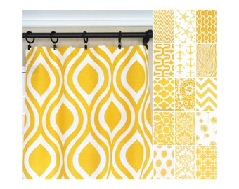 Yellow Window Curtains.Kitchen Curtains.Yellow Curtain Panels.Nautical Curtains.Yellow Drapes.Dandelion Curtains.Damask Drapery