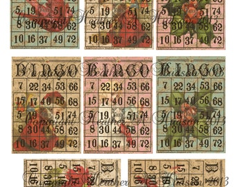 Vintage Victorian Chic Shabby Christmas Bingo  ATC Cards focals digital Collage Sheet Printable