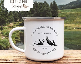 Personalized GRADUATION Camp MUG Senior Gift High School Graduation Gifts with Camping Adventure theme