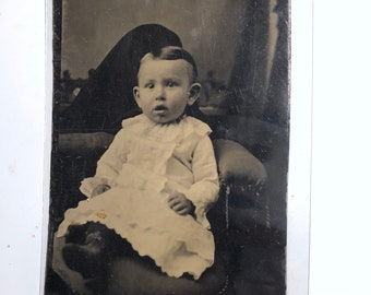 Baby / Child Photo with Hidden Mother - Vintage Tintype Photograph - Authentic - (Dated between 1850 - 1920) Item:TT18024