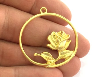 2  Rose Charms  34mm ,Gold Plated Metal   G3341