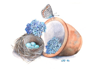 Butterfly and Robin's nest watercolour painting BP6315 - A4 size print - whimsical garden painting