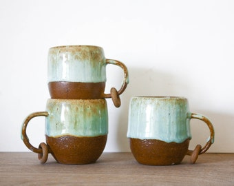 Baby Expresso mugs with Ring in Boreal Green- potter and ceramics