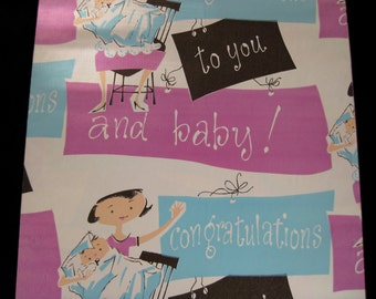 Baby congratulations gift vintage wrapping paper, vintage baby paper, congratulations baby paper, vintage baby
