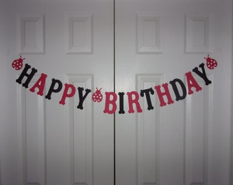 HAPPY BIRTHDAY Letter Banner Red, Black Cardstock Paper Ladybug Garland Hanging Door Mantel Wall Party Decor