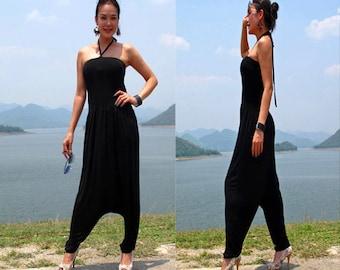 Black Halter Jumpsuit Beach evening long maxi Sun dress All size