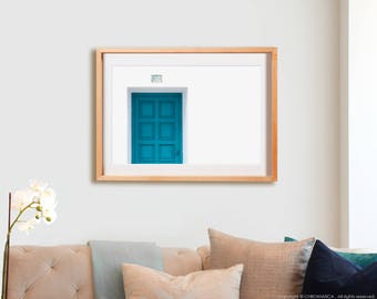Puertazul.  Photography, blue, doors, lines, decor, wall art, artwork, large format photo.