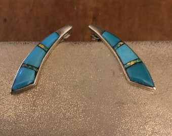 Turquoise Opal Earrings Alex Gelvin Famous Native American Designer