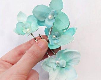 mint hair accessories, orchid hair pins, orchid hair clip, beach wedding, prom hair accessories, bridesmaid hair, aqua flowers for hair