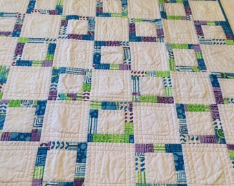 "Cotton Lap Quilt, purple and green, 33"" x 33"""