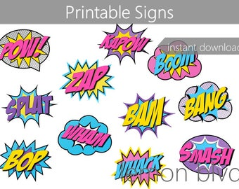 Superhero Signs | Superhero Girl Party Printables | Instant Digital Download | Super Hero Party Pack | Party Decorations | Comic Action Word