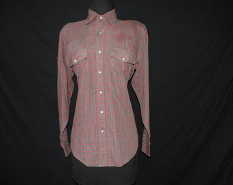 vintage plaid pearl snap shirt 70s red and green button down men's rockabilly shirt medium