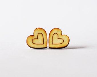 Heart Stud Earrings - Wooden Heart Earrings - wooden earrings - heart earrings - gifts for her