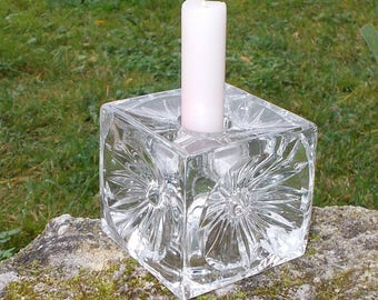 Glass Candle Holder by Rudolf Jurnikl. Sklo Union Mid Century Candle Holder Czech Art Glass with Daisy Floral Detail    (11)