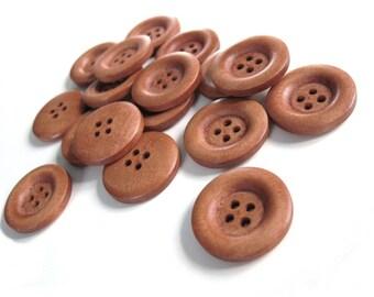 6 boutons de bois auburn 23mm