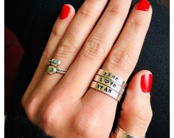 Sterling Silver Customized Hand Stamped Rings