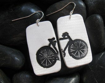 SALE Bicycle Bike Light Weight Earrings in White Ivory, Handmade Jewelry by theshagbag on Etsy