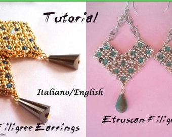 Etruscan Filigree Earrings 1 and 2  ( Tutorial graphics images and photos step by step in Italiano or English)