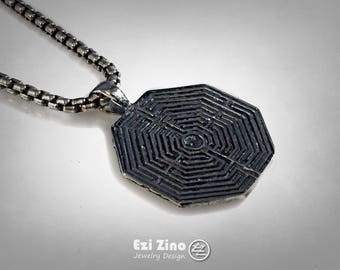 Silver Sterling Greek Labyrinth Maze Pendant Necklace