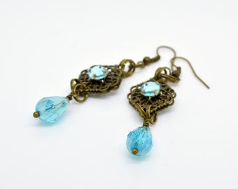Blue Earrings, dangle earrings, Bronze Jewellery, glass and crystal earrings, Crystal jewellery, crystal earrings, drop earrings