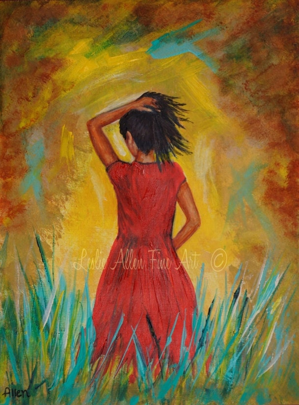Woman Art Print Woman Wall Art Red Dress Female Painting