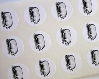 Pig Stickers One Inch Round Seals