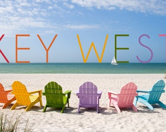 Key West, Florida - Colorful Beach Chairs - Lantern Press Photography (Art Print - Multiple Sizes Available)