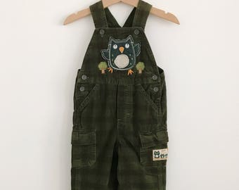 Vintage Toddler Boy Green Corduroy Owl Coveralls | Plaid Woodland Overalls | size 18 months