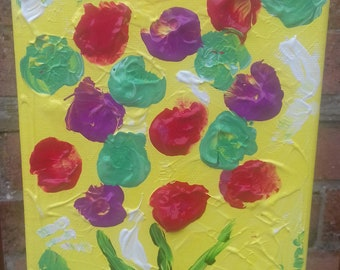 Sweet colourful flowers in acrylics on canvas
