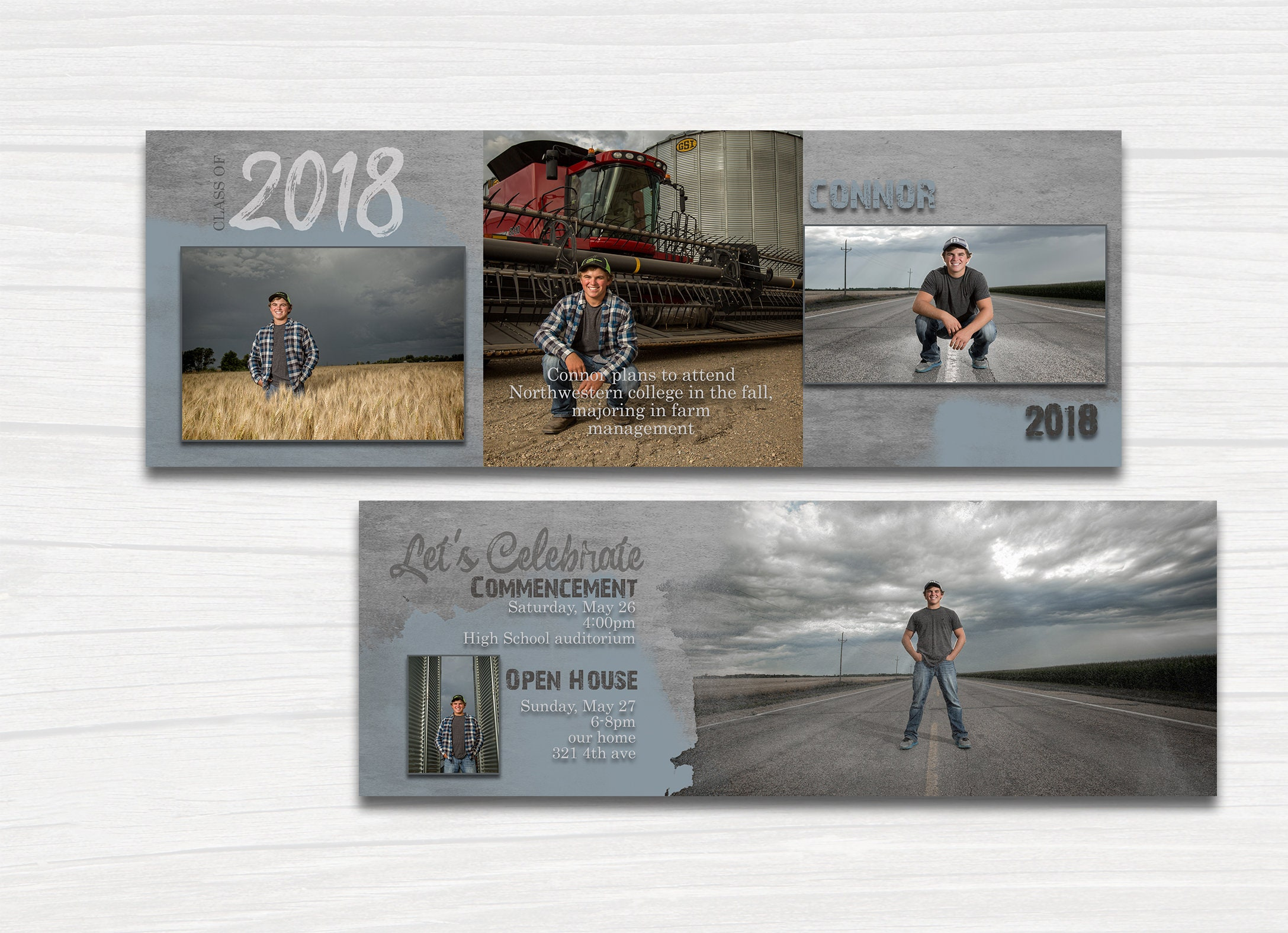 trifold graduation invitation with steel gray tones