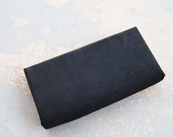 Clearance SALE vintage 30s Clutch - 1930s Art Deco Black  Satin Clutch