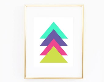"""Neon Triangles Geometric Illustration Wall Art   5"""" x 7"""" Bedroom Nursery Office Home Wall Art   DIY Instant Download Printable Image"""