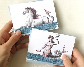 Mermaid and Hippocampus Note Cards, Set of 8 with envelopes, 4 of each type