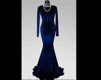 Dark blue velvet dress, dark blue dress, special occasion dress, Sexy dress, Long dress, Maxi dress, Evening dress, mermaid, Spring Dress