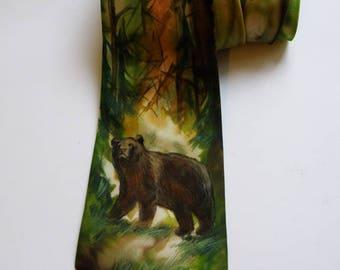 Men's Tie / Valentines Day Gift / Groomsmen Necktie / Art Necktie/ Pained Necktie/ Styling Necktie/ Artwork Wood Bear