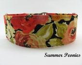 Peony Martingale Collar, Big Bright Flower Dog Collar, Wide Dog Collar, Fleece Lining Option, Flower Martingale, Buckle Option