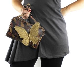 Vintage Brown & Black Snakeskin Leather Handbag with Large Gold Butterfly