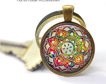 Rainbow Mandala • Beautiful Mandala • Buddhist Symbol • Hindu • Yoga • Key Ring • Keychain • Gift Under 20 • Made in Australia (K575)