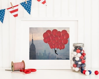 New York City Balloons - 8x10 photograph - Floating over the City - fine art print - vintage photo - whimsical nursery art  - NYC skyline