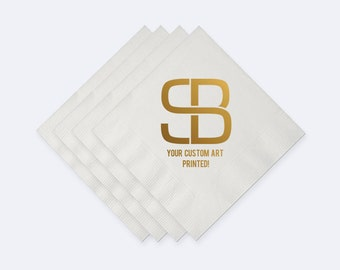 Custom Art/Logo Napkins - Cocktail Size. Wedding, Birthday, Baby Shower, Holiday, Dinner Party or any Event! - Set of 100