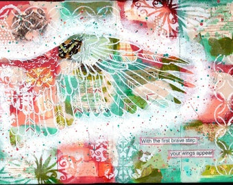 With the First Brave Step, mixed media, mantra art, wings, bravery, giclee