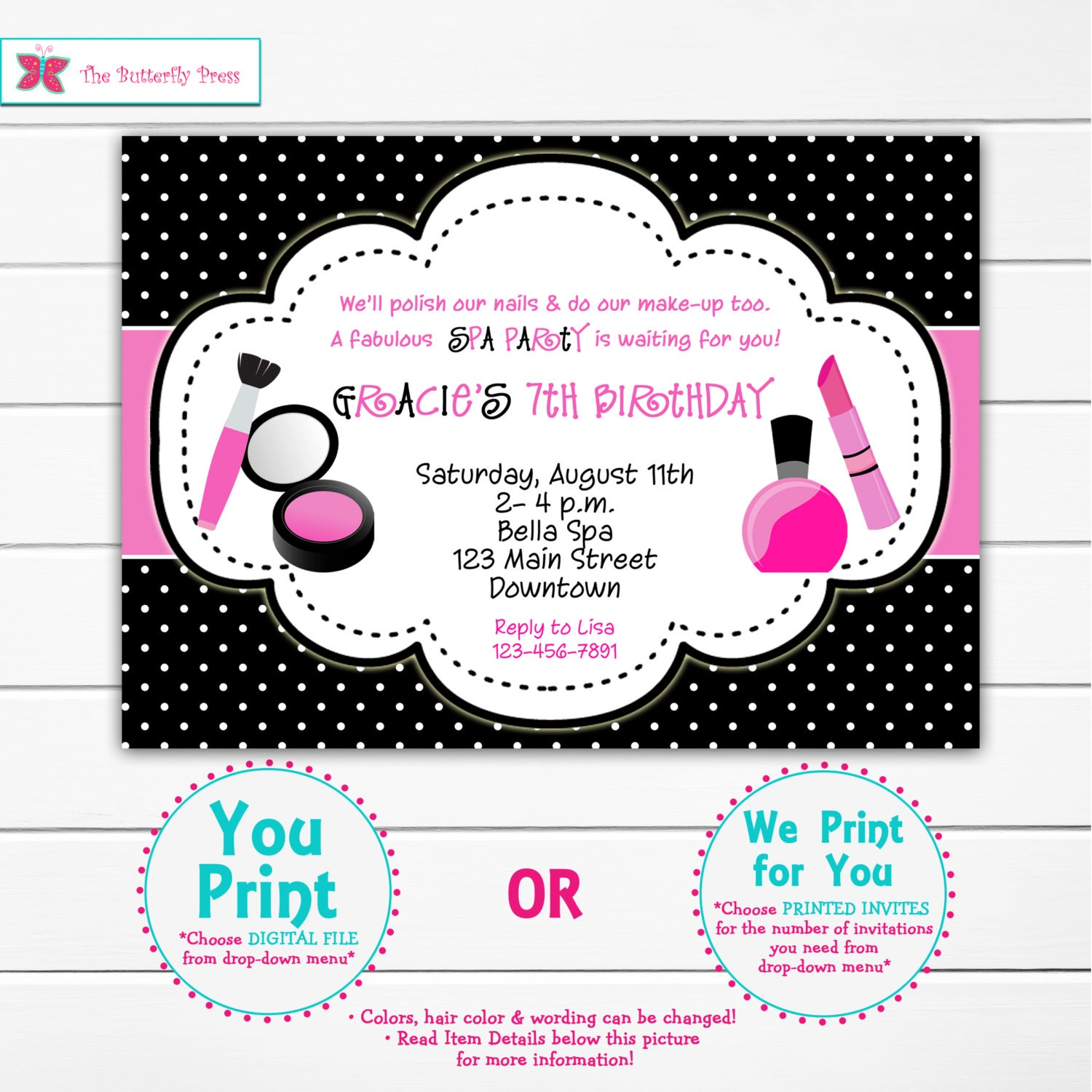 Spa Birthday Party Invitation Make Up Nail Polish Glamour