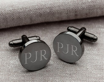 Personalized Round Gunmetal Cufflinks - Groomsmen Gifts - Engraved Cufflinks - Gifts for Him - Gift for Men - Personalized Cufflink - GC1331