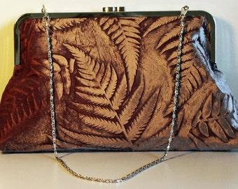 Iridescent Velvet Clutch Bag Embossed with Botanical Fern Design