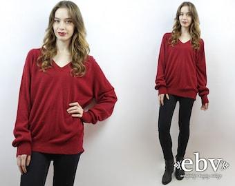 Oversized Knit Oversized Jumper Oversized Sweater Crimson Sweater Normcore Sweater V Neck Sweater 70s Sweater Men's Sweater L XL