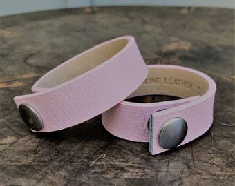 Light Pink Leather Bracelet, Pink Leather Cuff, Bracelet, Cuff, Modern Bracelet, Pink Cuff, Pink Bracelet, Gift for Her, Wife Statement Gift