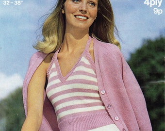 Vintage womens halter top cardigan set knitting pattern PDF 4ply ladies summer top camisole strapy top 32-38inch PDF instant download