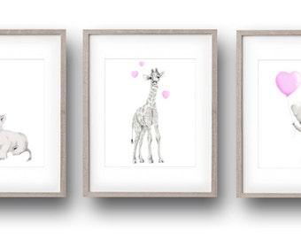 Safari Nursery, Pink Nursery, Set of 3, Art Prints, Elephant, Giraffe, Lion, Baby Animal Print, Girl Nursery, Heart Balloon, Gender Neutral